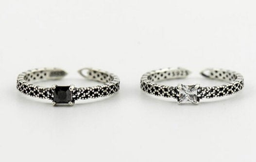 Black & White CZ Band Ring,925 Sterling Silver Ring, Engagement Ring, Adjustable ring, Dainty Ring, Gift for her, Minimalist Ring, Boho Ring