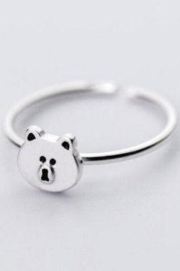 Hot Sale New Fashion Cute Bear Cartoon Girlfriend Gift Ring,925 Sterling Silver Ring,Adjustable ring,Minimalist Ring Boho Ring, Wedding gift