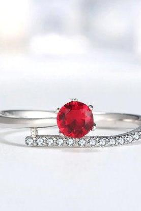 Hot Sale New Dynamic Red Zircon Elegant Wedding Ring, 925 Sterling Silver,Adjustable ring,Dainty Ring,Gift for her,Minimalist Ring,Boho Ring