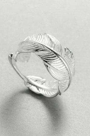 Hot Sale New Feather Open Leaf Fashion Trend Ring, 925 Sterling Silver,Adjustable ring,Dainty Ring,Gift for her,Minimalist Ring, Boho Ring
